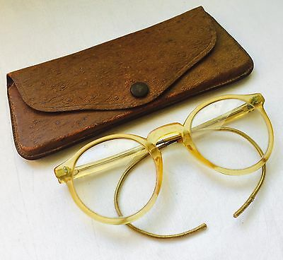 ANTIQUE Celluloid Safety AO Eyeglasses Spectacles wiith Leather Looking Case