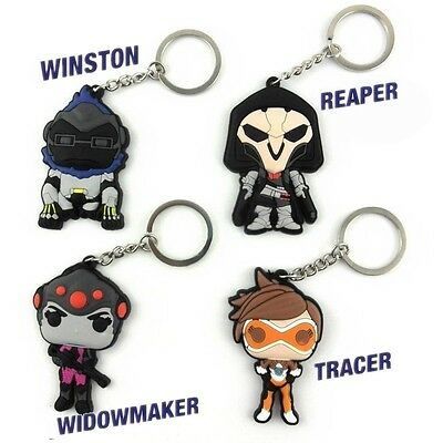 OW Overwatch Reaper Winston Tracer Widowmaker Key chain ring Strap Rubber
