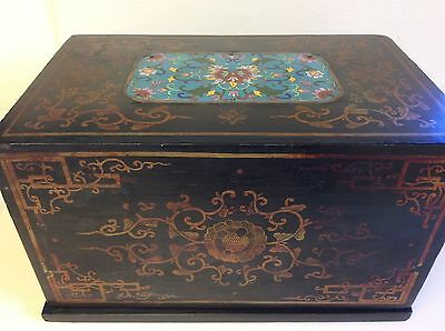 Antique Chinese Handpainted Black Lacquer Box w/Cloisonné Insert on Top, c.1880