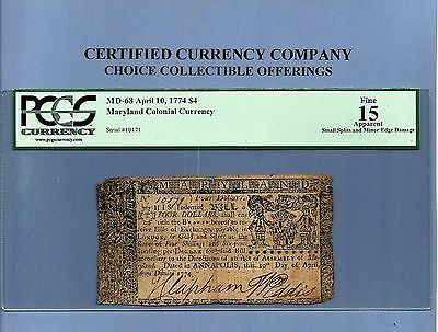 1774 $ 4 Maryland Colonial Note History MD-68 PCGS Fine 15