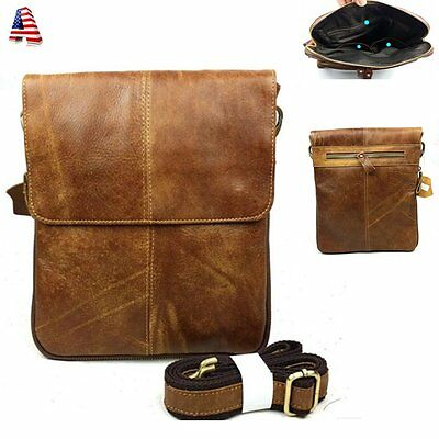 Mens Retro Cowihde Leather Casual Crossbody Messenger Shoulder Satchel Bag Brown