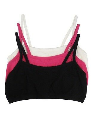 Fruit of the Loom Big Girls Cotton Spaghetti Strap Sport Bra 3 pack