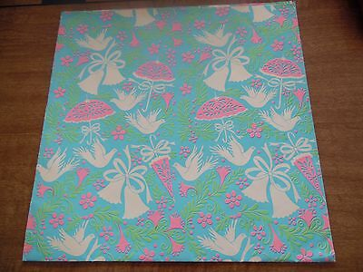"""Vintage Wedding Shower Gift Wrap Wrapping Paper One Sheet 30"""" x 20""""  Unused"""