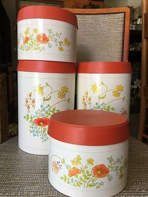 Set Of 4 Vintage Corning Kitchen Canisters Cheinco Made In USA - Excellent