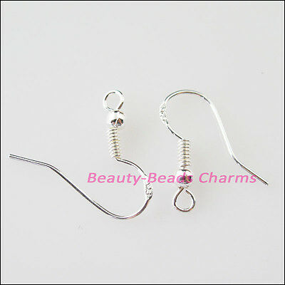 100Pcs Sterling 925 Silver Ear Wire Hook With Spring and Ball 20mm