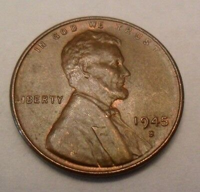 1945 S Lincoln Wheat Cent / Penny Coin  *FINE OR BETTER*  **FREE SHIPPING**