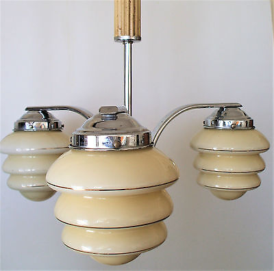 Antique 1920's ART DECO Cloud Glass Chandelier light fixture Ceiling Light