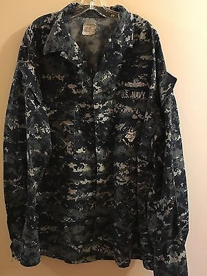 US Navy Digital Camo Blue Tall Men's Shirt Jacket Size XL Long