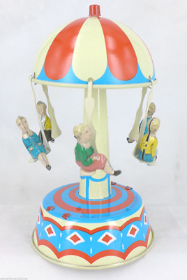 Collector's  Carousel  With People Roundabout German Tin Toy Classic Collectable