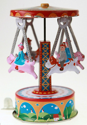 Classic Carousel Tin Toy Merry Go Round Cute Tin Toy With Press And Spin Action