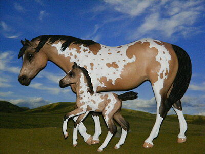 LSQ OOAK Custom Breyer cm Mustang Mare & Foal to Beautiful Buckskin Pintos!