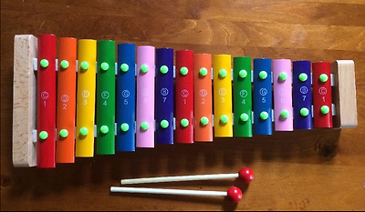 Beautiful Wooden Xylophone With Steel Keys  With Numbers And Notes 42cm