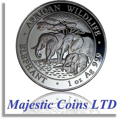 2013 Somalia Elephant Silver African Wildlife 1 Oz Air-Tite® Majestic Coin