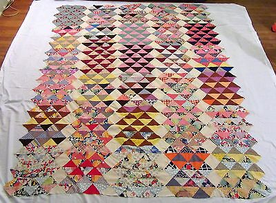 "Antique Hand Stitched Feed Sack Fabric Diamonds & Triangles Quilt Top  90"" x 76"""