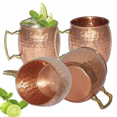 4pcs Moscow Mule Mug Cup Drinking Hammered Copper Brass Steel Gift Set 15 oz New