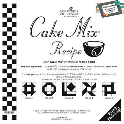 Quilting Sewing Quilt Pattern MODA CAKE MIX 6 Preprinted Cheats for Patchwork...