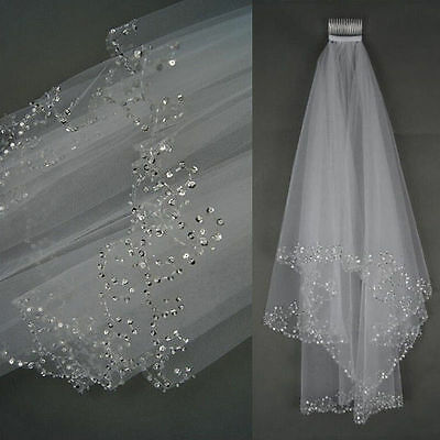 2T White/Ivory Elbow Beaded Edge Sequins Bridal Wedding Veil With Comb