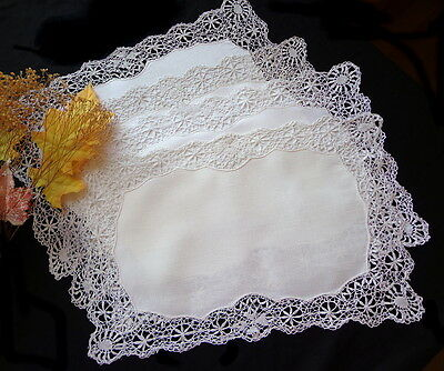 Authentic Antique Handmade LINEN and MALTESE LACE Placemats Set of FOUR Mats