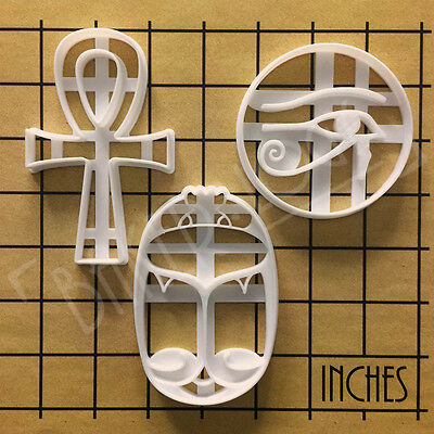 Set of 3 Ancient Egyptian Artifact biscuit cutters | Ankh Eye of Horus Scarab