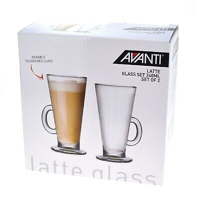 NEW AVANTI LATTE COFFEE GLASS Beverage Glasses Mugs Cups 240ML SET OF 2