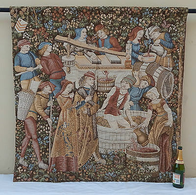 """Antique Large French Aubusson Style The Grape Harvest Tapestry (53"""" x 52"""")"""