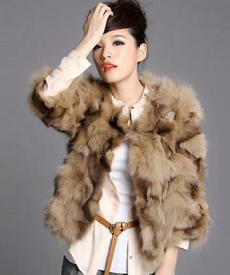 Womens Real Fur Round Neck 3/4 Sleeves Short Jacket Parka Outerwear Coats I435