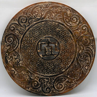 Chinese culture hand carve jade openwork Bi Disc with Chi dragon grains D233