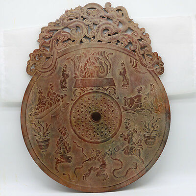Chinese culture hand carve jade openwork Disc with Chi dragon human grains D232