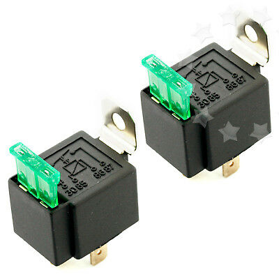 2X Wired 4/5 Pin Car Relay Mounting Base Socket Holder & 30A Fused 4-Pin On Off