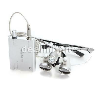 Silver Dental Loupes 3.5X 420mm Surgical Binocular Optical Glass Head Light Lamp