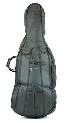 NEW quality black 4/4 size padded cello bag case - back straps & 2 bow holders