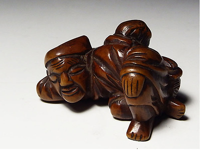 RARE Antique Japanese Netsuke edo period Sarumawasi wood j317208634
