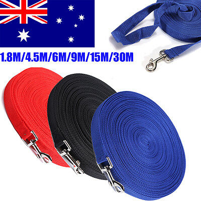 1.8/4.5/6/9/15/30M Pet Dog Long Recall Lead Leashes Training Obedience Walk Rope