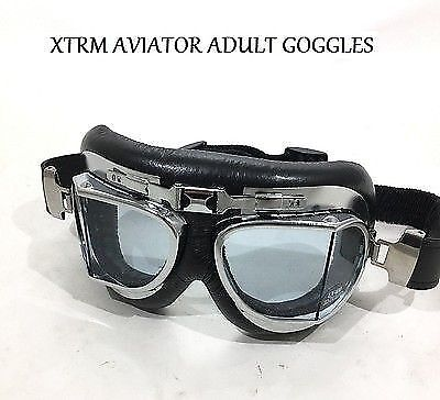 Xtrm X1 Aviator Motorcycle Motorbike Adult Flying Goggles Silver Classic Retro