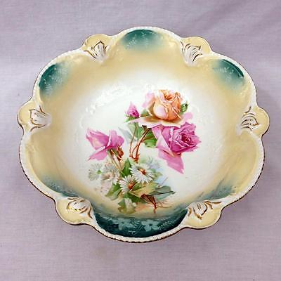 """Antique RS Prussia 10.5"""" Master Berry Bowl Roses Daisies Red Star Mark Mold 207"""