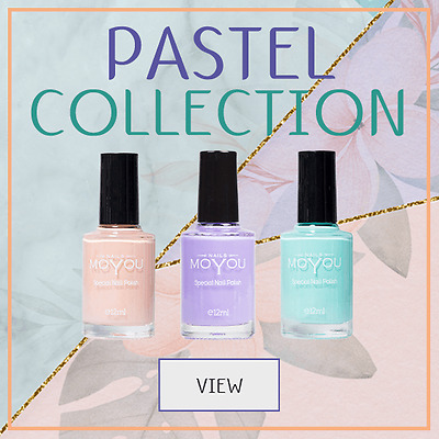 MoYou Stamping Nail Art Polish Pastel Collection, Fast Dry Varnish 12ML Set of 3
