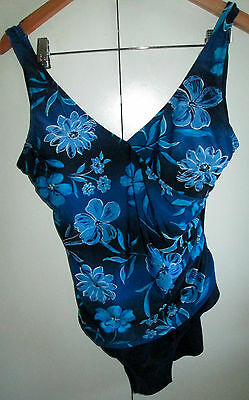 Vintage Millers Size 16 Floral Blue One Piece Swim Wear Swimmers Pool Beach Wear