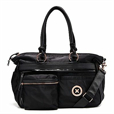 Mimco Splendiosa Baby Nappy Bag Black Nylon LARGE Duffle Weekender AUTHENTIC
