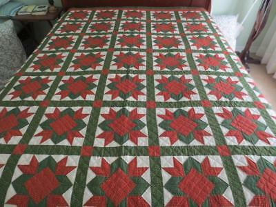 """Excellent Antique Early 1900's Hand-Stitched Patchwork Quilt 85"""" x 85"""""""