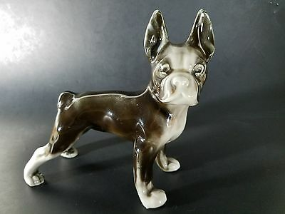"Antique VTG Styson Bone China Boston Terrier Dog Figure 7""x7""x3"" Made in USA"