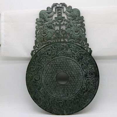 Chinese hand carve jade openwork green Disc Bi with Chi dragon human grains D243
