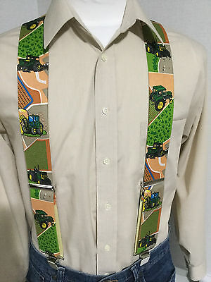 "New,Men's, Green Tractors on mixed Fields, XL, 2"", Adj. Suspenders / Braces, USA"