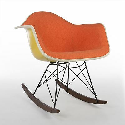 Orange Herman Miller Original Authentic Eames Yellow RAR Rocking Shell Chair