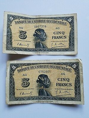 2- Wwii 1942 Banque De L'afrique Occidentale 5 Francs French West Africa Notes