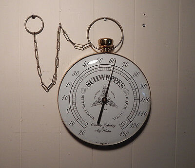 Vintage Schwepps Soda Sign Advertising Thermometer Curved Glass Pocket Watch
