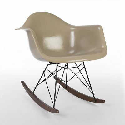 Greige 3rd Generation Zenith Original Vintage Eames RAR Rocking Arm Shell Chair