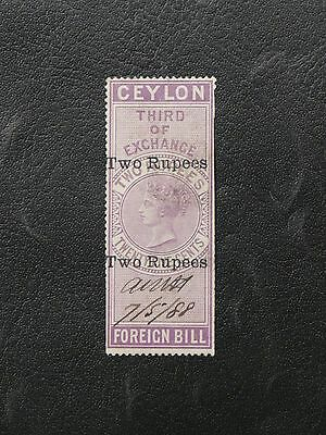 Timbres De Ceylan : Ceylon Foreign Bill - Surcharge Two Rupees - Defectueux