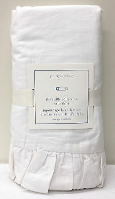 NEW Pottery Barn KIDS Ruffle Collection Crib Skirt, Nursery Baby Bedding, WHITE