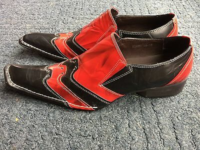 New Upper Class of London Designer Red Black Leather Wedding Shoes Size 10