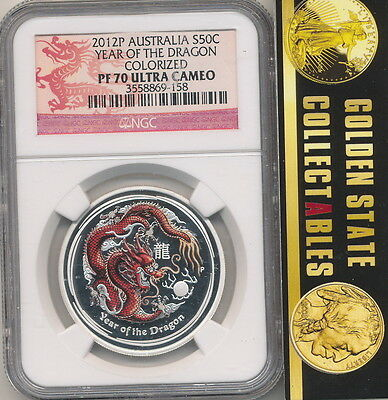 2012-P S50c Silver Australia Year Of The Dragon Colorized Coin PF70 ULTRA CAMEO